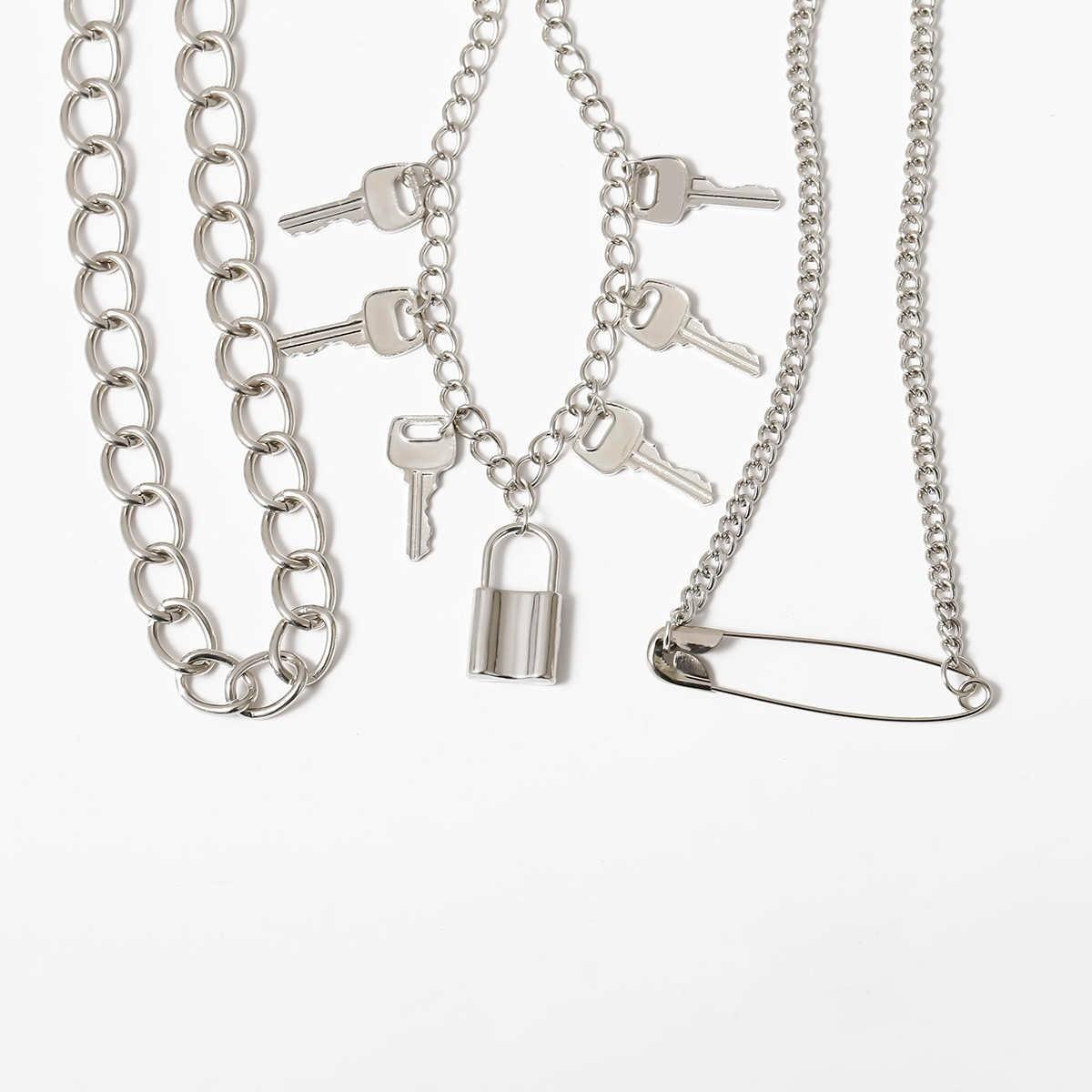 E-girl E-boy Punk Gothic Big Lock Key Angel Pendant Necklace 57