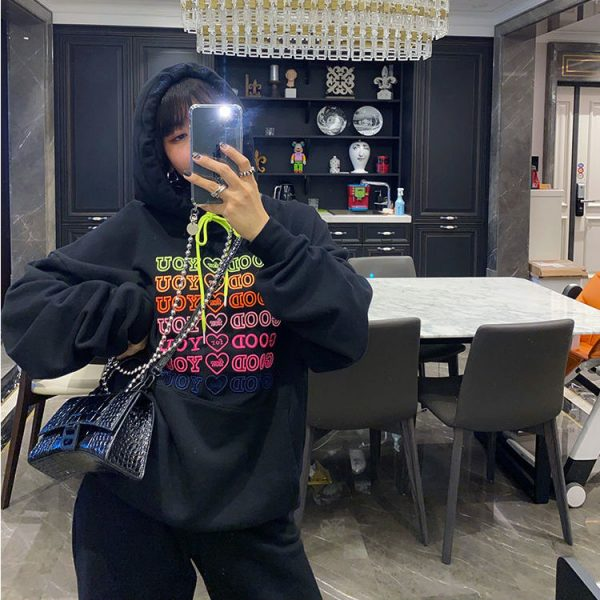 E-girl Soft girl oversized Harajuku hoodie with Good for You embroidery 5