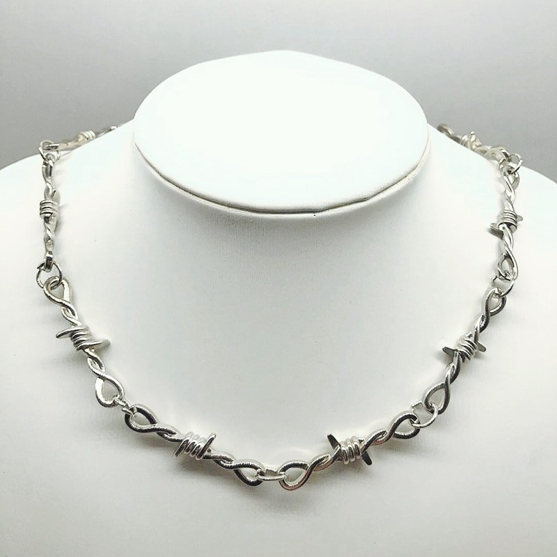 E-girl E-boy Gothiс Punk Necklace with Blades and Barbed Wire 42