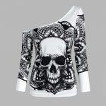 E-girl Gothic Punk Y2K Off Shoulder T-Shirt with Skull print 4