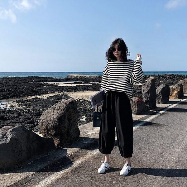 Harajuku E-girl Grunge striped cotton Sweatshirt 5