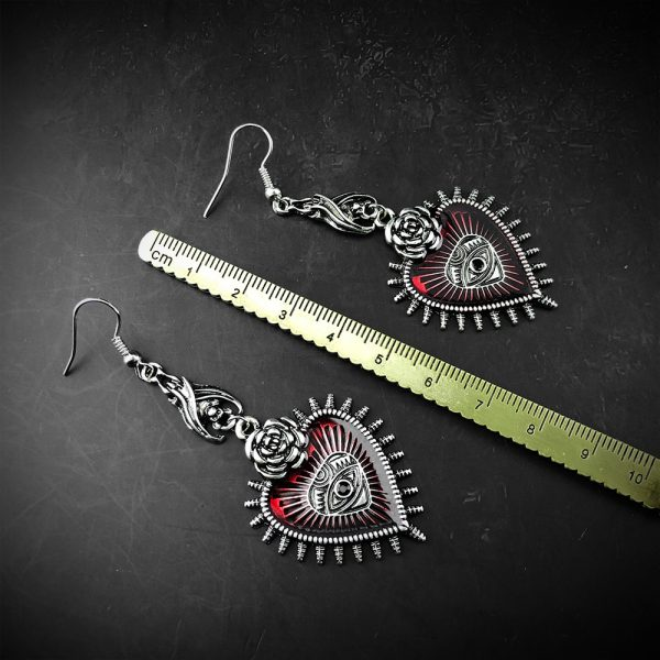 E-girl E-boy Gothic Occult Dark Drop Earring with Blood Rose Heart 6