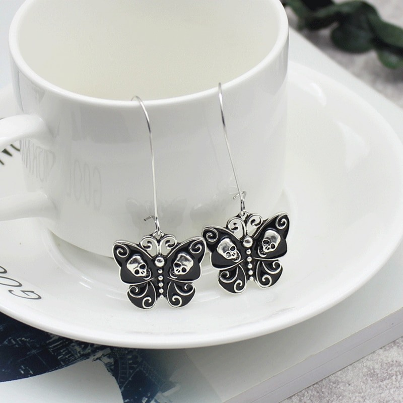 E-girl Gothic Punk Black Butterfly Wings Inlaid With Skulls 45