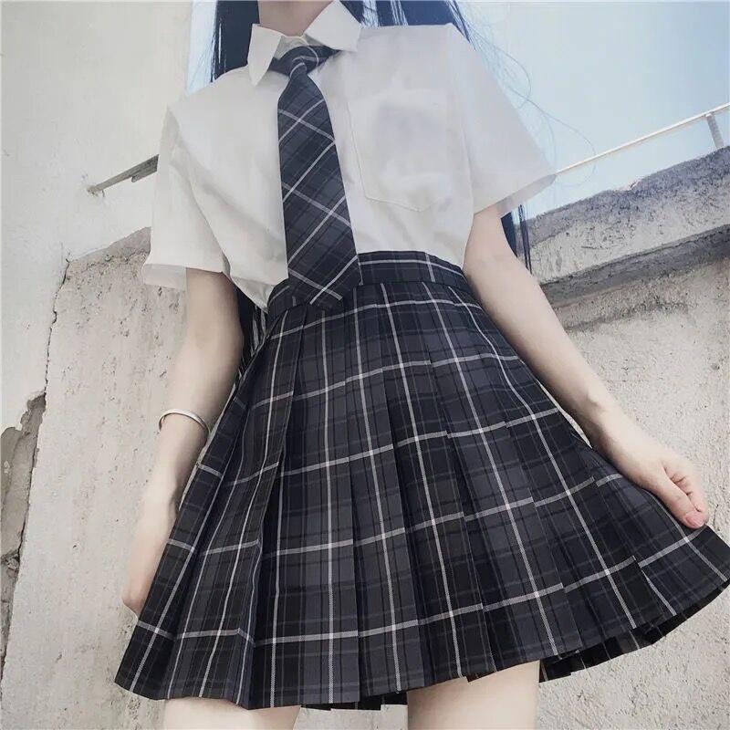 Harajuku E-girl Soft girl Pleated A-Line Plaid Skirts 44