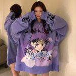 E-girl E-boy Harajuku Anime Cute Girl Oversized Hooded Sweatshirt 1