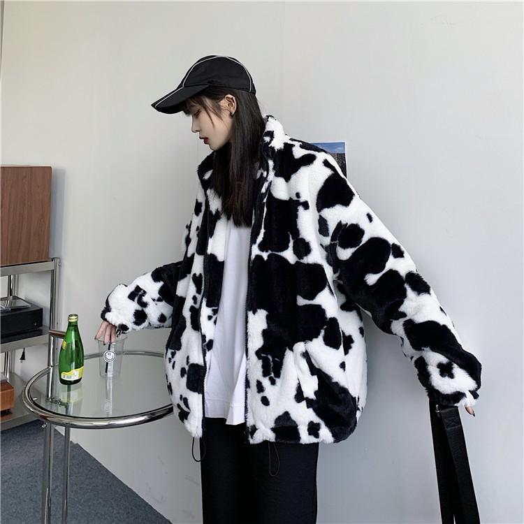 Harajuku E-girl Loose Coat with Cows Printing 44