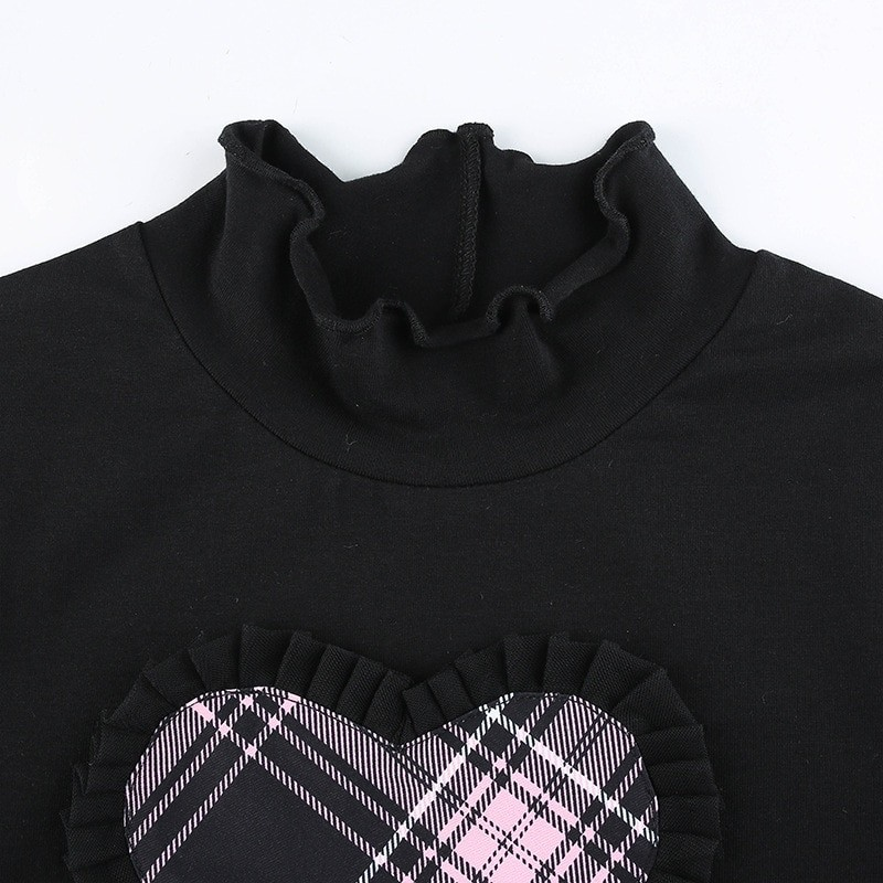 E-girl Gothic Y2K Crop top with Plaid Heart and Ruffles 46