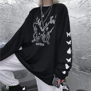 E-girl Gothic Punk Harajuku T-shirt with butterflies print 1
