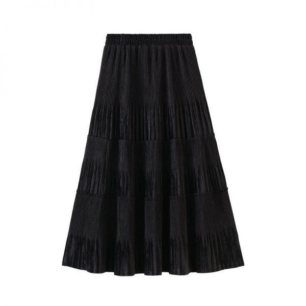 Harajuku Vintage Long Velvet Pleated Skirts 3