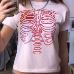 Punk E-girl Gothic Crop top with skeleton print 2