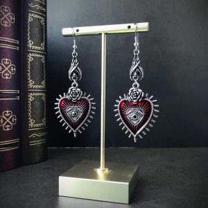 E-girl E-boy Gothic Occult Dark Drop Earring with Blood Rose Heart 1