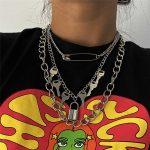 E-girl E-boy Punk Gothic Big Lock Key Angel Pendant Necklace 15