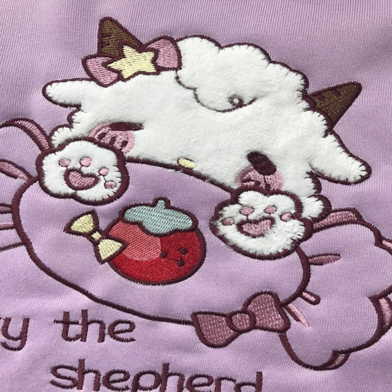 Harajuku Soft girl  Cute Pullover Lamb And Candy Embroidery 47