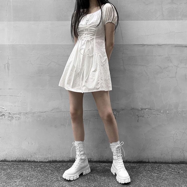 E-girl Gothic Punk Mid Calf Boots 45