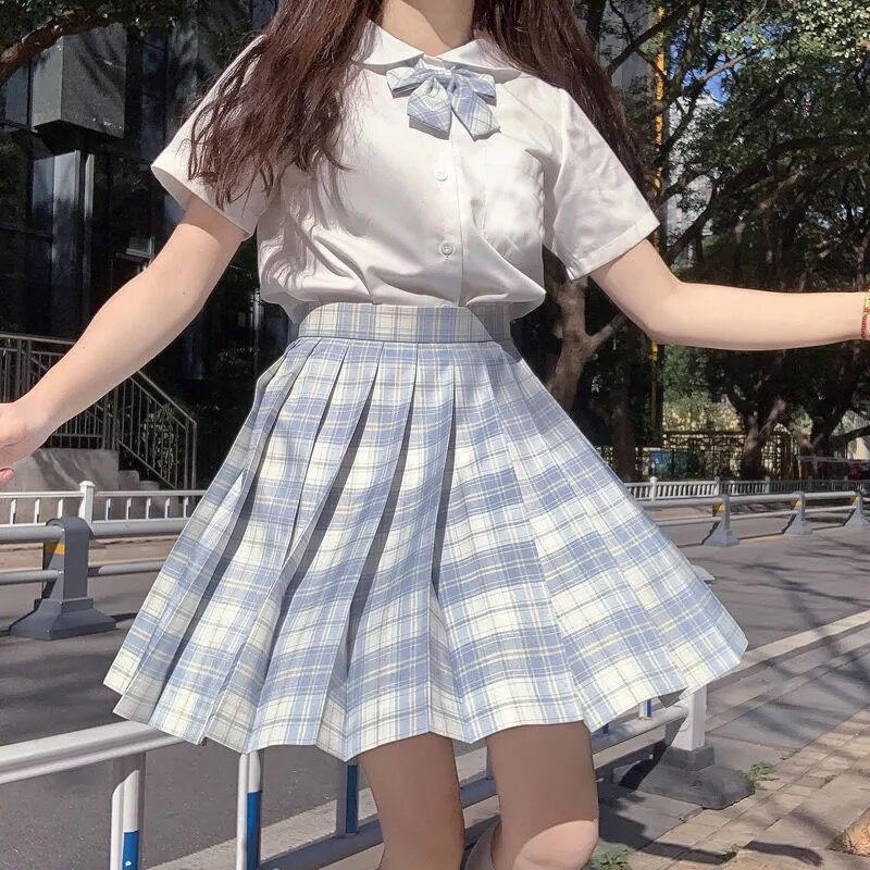 Harajuku E-girl Soft girl Pleated A-Line Plaid Skirts 52