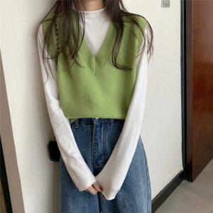 Soft Girl E-girl Harajuku Knitted V-Neck Sleeveless Vest 18