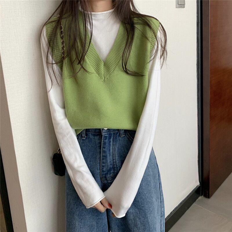 Soft Girl E-girl Harajuku Knitted V-Neck Sleeveless Vest 47