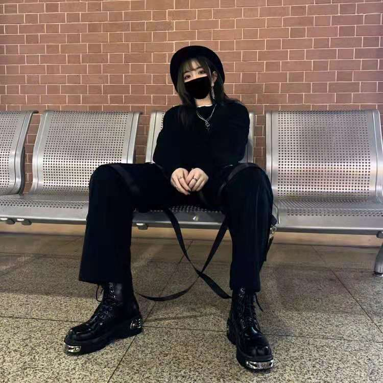 Egirl Punk Style Platform Chunky Shoes with Metal Decor 42
