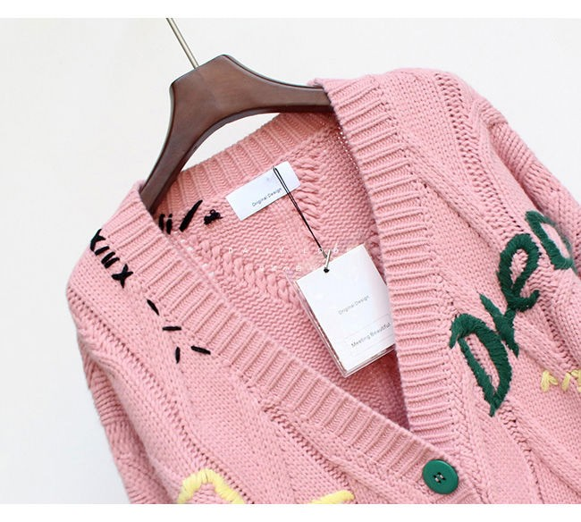 Harajuku Y2K  Cottagecore Loose Knitted Cardigan with Pockets and Embroidery 60