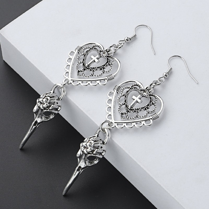 E-girl Gothic Punk Heart Cross and Bird Skull Earrings 42