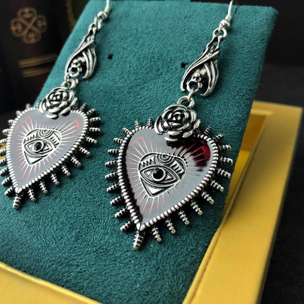 E-girl E-boy Gothic Occult Dark Drop Earring with Blood Rose Heart 3