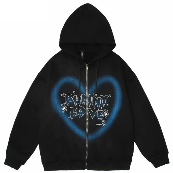 E-girl Y2K  Harajuku Hoodie with Graffiti Heart and Letters Print 1