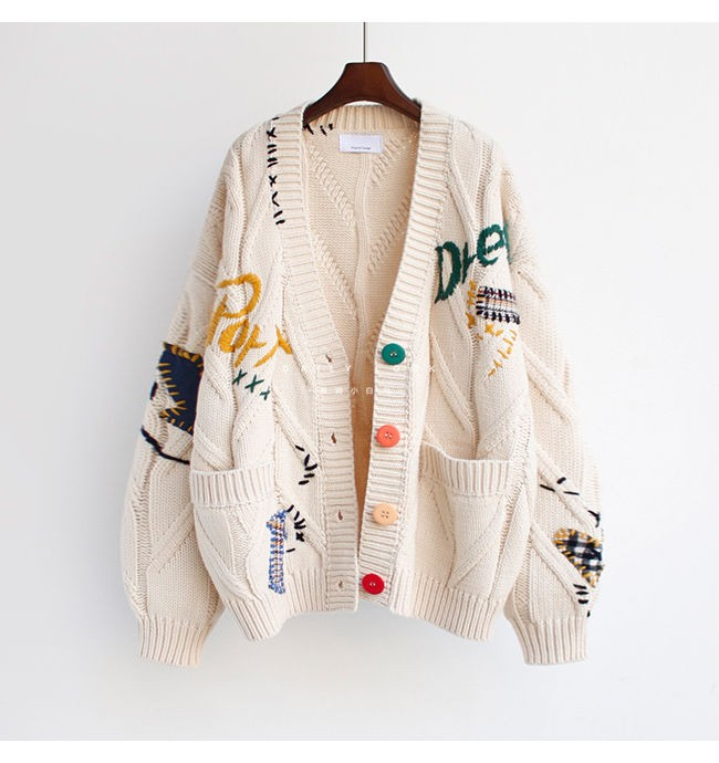 Harajuku Y2K  Cottagecore Loose Knitted Cardigan with Pockets and Embroidery 44