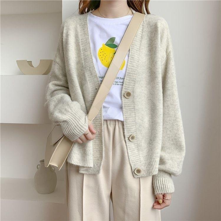 Harajuku E-girl Soft girl Kawaii Cardigan Solid Cashmere 50