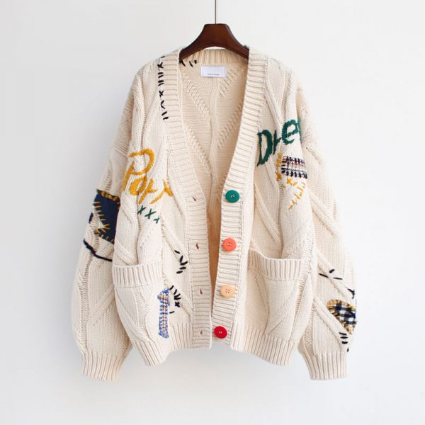 Harajuku Y2K  Cottagecore Loose Knitted Cardigan with Pockets and Embroidery 1