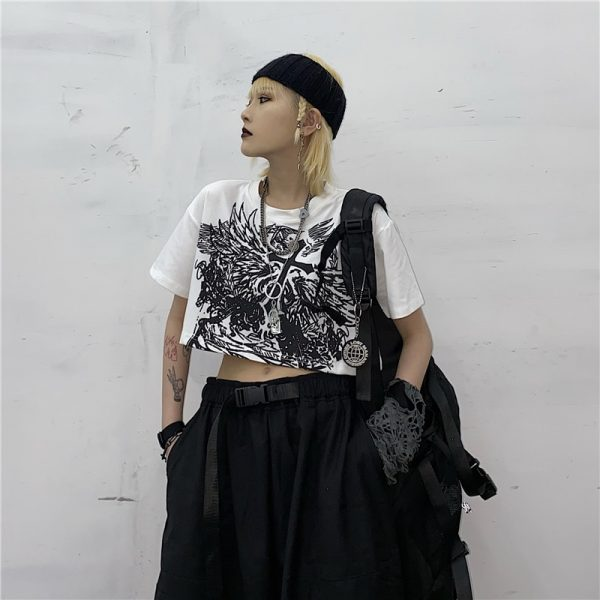 E-girl Gothic Punk Crop Top with gothic print 5
