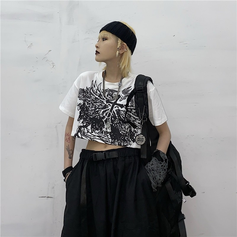 E-girl Gothic Punk Crop Top with gothic print 47