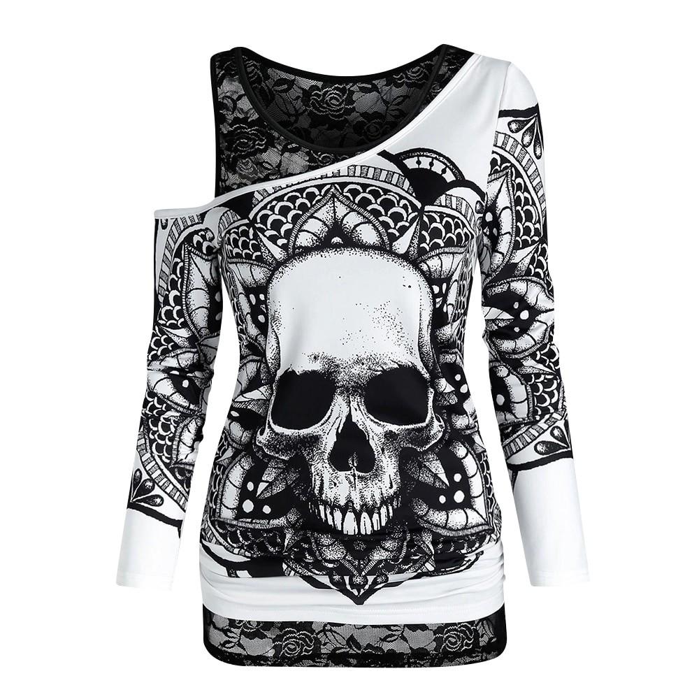 E-girl Gothic Punk Y2K Off Shoulder T-Shirt with Skull print 41