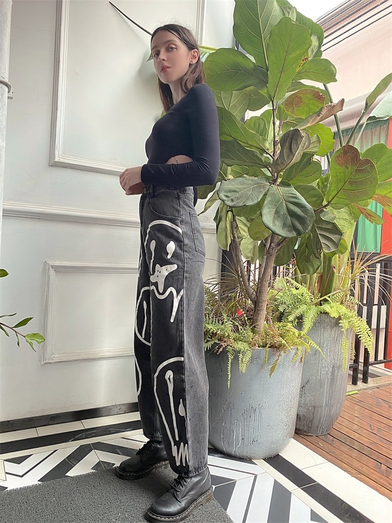 E-girl Harajuku Y2K Street Hip-hop Printing Loose Jeans with Wide Legs 50