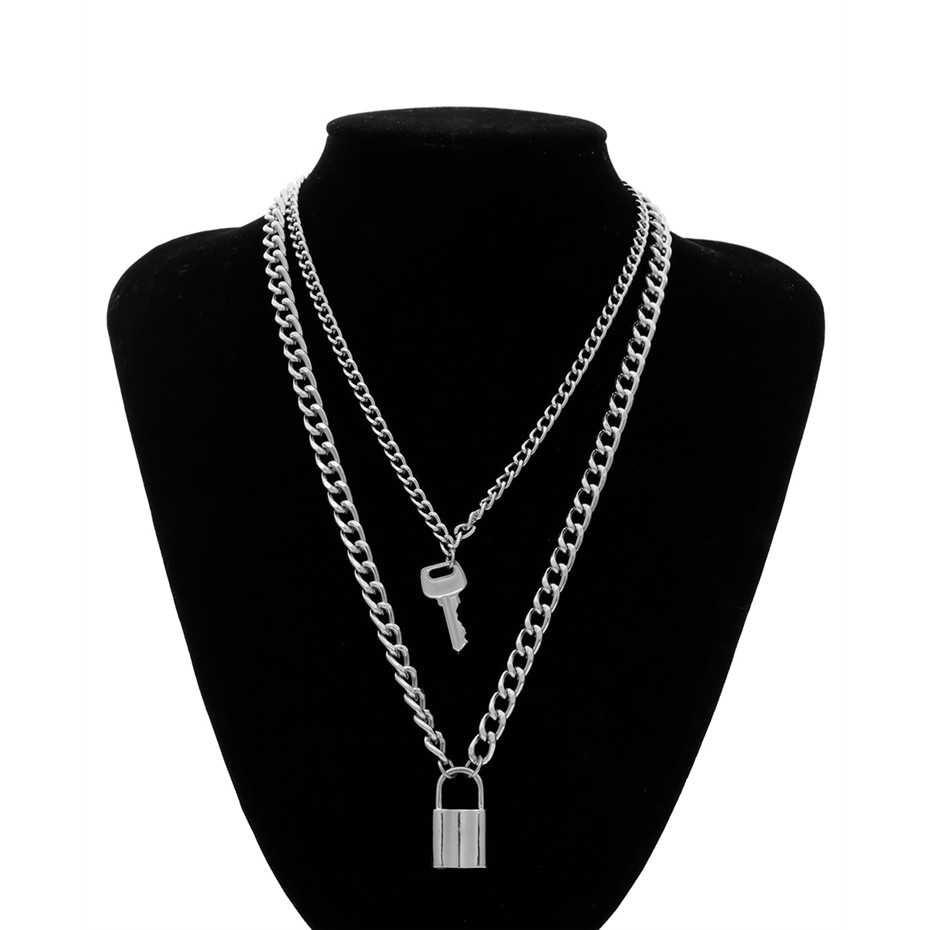 E-girl E-boy Punk Gothic Big Lock Key Angel Pendant Necklace 50