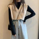 Soft Girl E-girl Harajuku Knitted V-Neck Sleeveless Vest 2