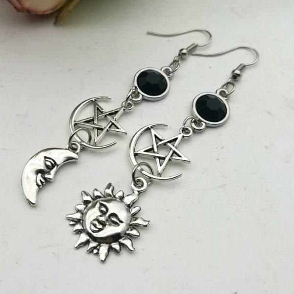 E-girl Gothic Crescent and Pentagram Long Earrings 2