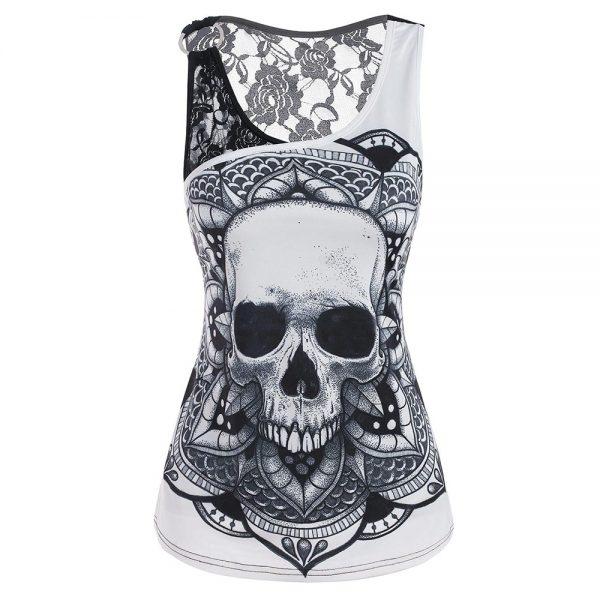 E-girl Gothic Punk Y2K Off Shoulder T-Shirt with Skull print 3