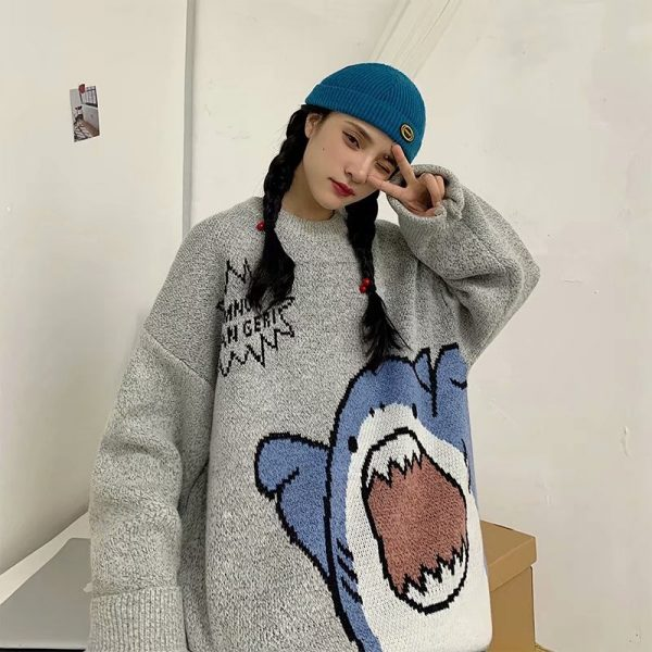 Harajuku E-boy E-girl Turtlenecks Oversized Shark Sweater 4