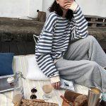 Harajuku E-girl Grunge striped cotton Sweatshirt 3