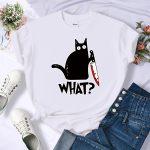 E-girl E-boy Harajuku Tshirt with Cartoon Black Cat Print 3