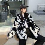 Harajuku E-girl Loose Coat with Cows Printing 5