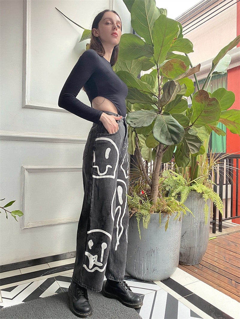 E-girl Harajuku Y2K Street Hip-hop Printing Loose Jeans with Wide Legs 51