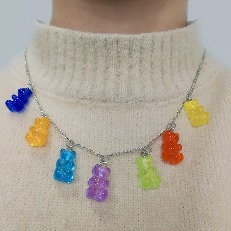 Y2K Soft girl Indie Kid Candy Color Gummy Mini Bear Necklace 59