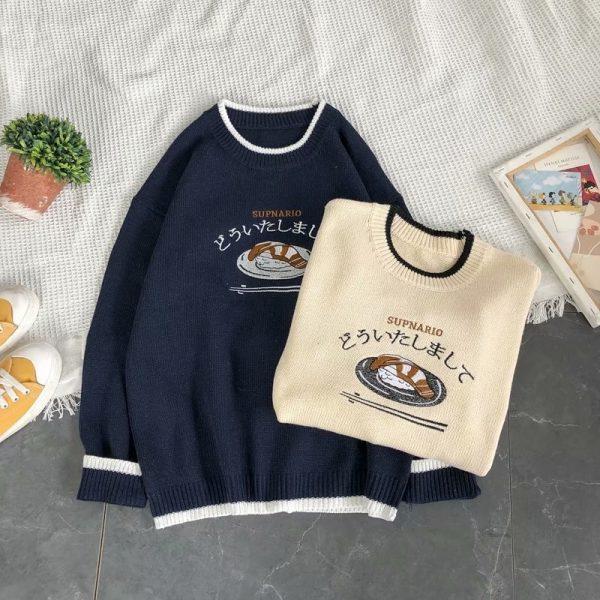 Harajuku E-boy E-girl Knitted Sweater with sushi embroidery 12