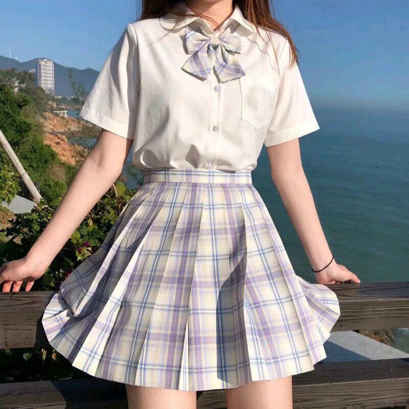 Harajuku E-girl Soft girl Pleated A-Line Plaid Skirts 63