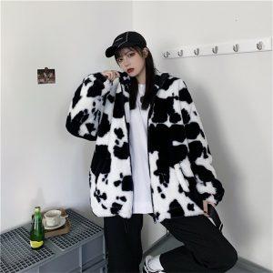 Harajuku E-girl Loose Coat with Cows Printing 1