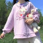 Harajuku Soft girl  Cute Pullover Lamb And Candy Embroidery 4