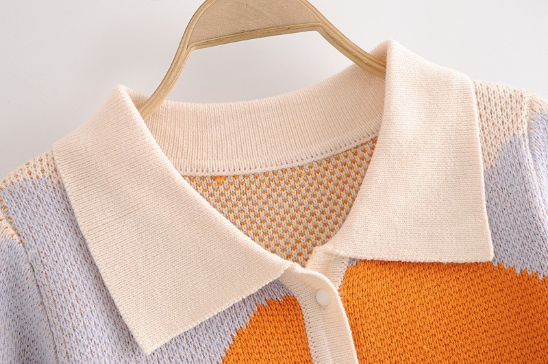 Y2K Soft girl Vintage French Style Sunshine Print Short Knitted Sweater 43