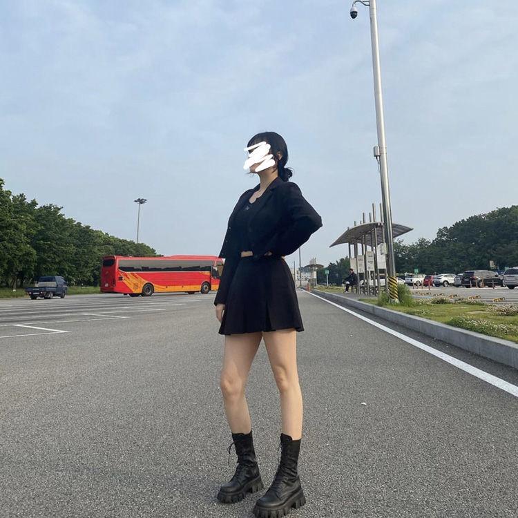 E-girl Gothic Punk Mid Calf Boots 48
