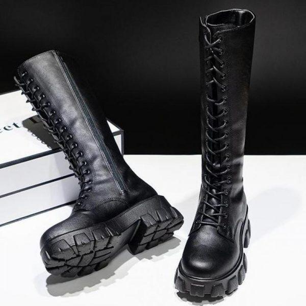 E-girl Gothic Punk Knee-high Pu Boots 1